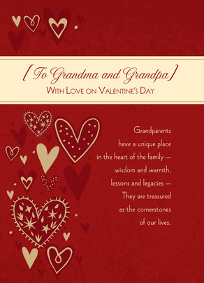 Grandparents Family Heart 5x7 Folded Card