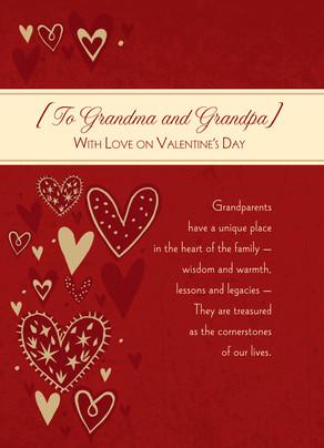 Grandparents Family Heart 5x7 Folded Card