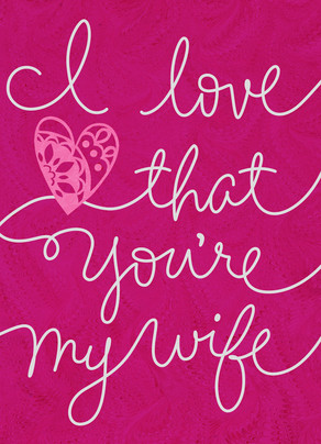 Pink Wife Cursive 5x7 Folded Card