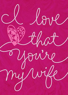 Pink Wife Cursive 5x7 Folded Card