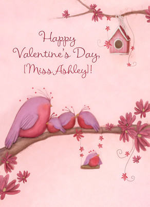 Pink Bird Family 5x7 Folded Card