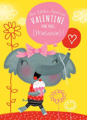 Special Valentine Elephant 5x7 Folded Card