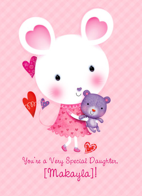 Daughter Valentine Mouse 5x7 Folded Card