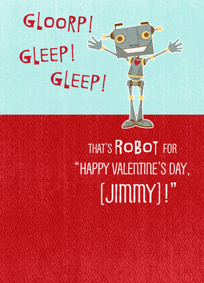 Happy Valentine Robot 5x7 Folded Card