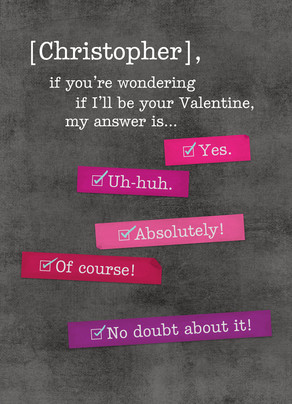 Wondering Valentine Question 5x7 Folded Card