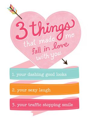 Three Things Love 5x7 Folded Card