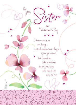 Valentine for Sister 5x7 Folded Card