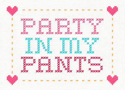 Stitched Party Pants 7x5 Folded Card