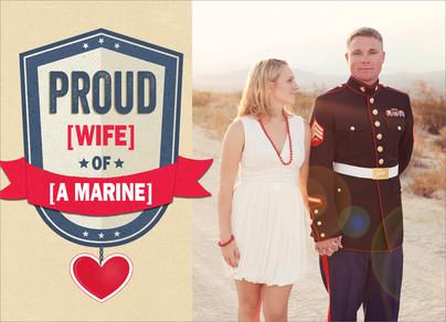 Proud Military Heart 7x5 Folded Card