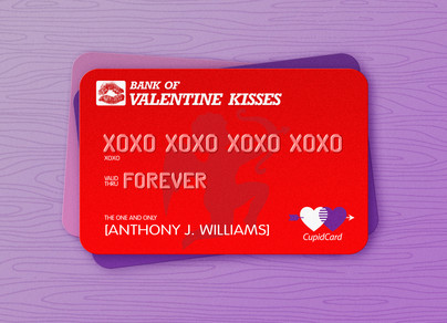 Valentine Kisses Bank 7x5 Folded Card