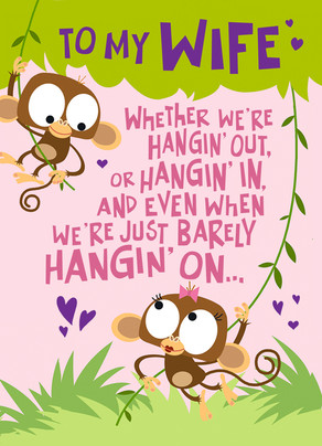 Monkey Valentine Hanging 5x7 Folded Card
