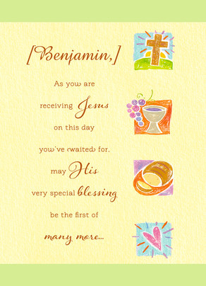 Personalized Communion 5x7 Folded Card