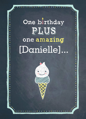 One Birthday Ice Cream 5x7 Folded Card