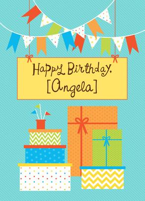 Birthday Flags 5x7 Folded Card