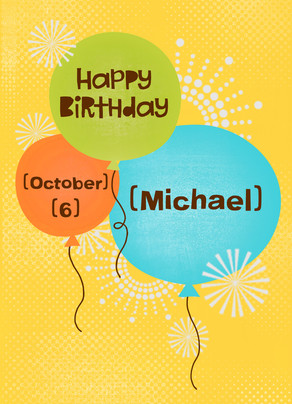 Birthday Balloons Happy Card