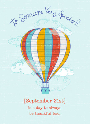 Hot Air Balloon Birthday Happy Card