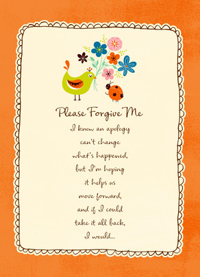Forgive Me Flowers 5x7 Folded Card