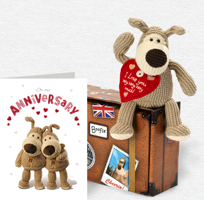 Heart Boofle Anniversary Card and Plush 5x7 Folded Card
