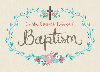 Floral Baptism 7x5 Folded Card