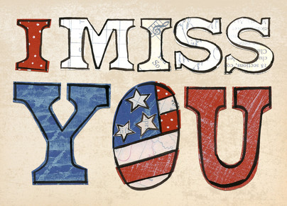 Patriotic Missing You 7x5 Folded Card