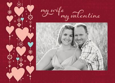 Wife Valentine Hearts 7x5 Folded Card