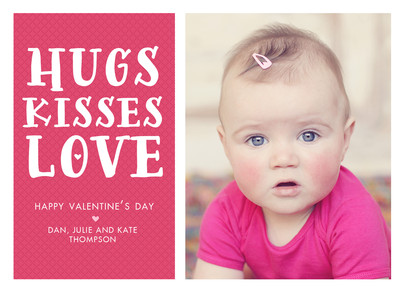 Hugs Kisses Love 7x5 Flat Card