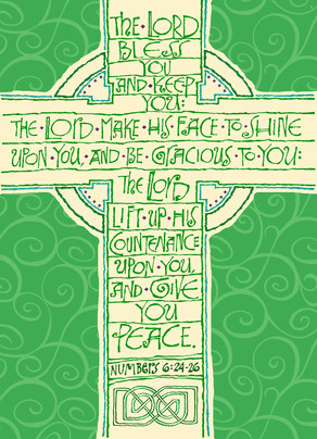 Green Cross 5x7 Folded Card