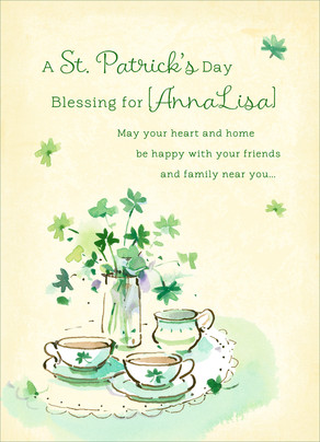 St Patricks Tea 5x7 Folded Card