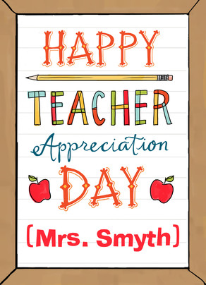 Teacher Appreciation 5x7 Folded Card