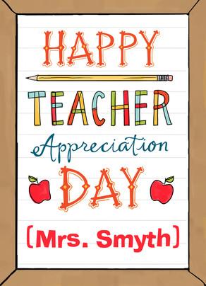 Teacher Appreciation 5x7 Folded Card