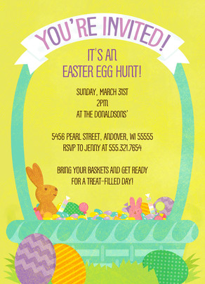 Easter Basket Invite 5x7 Flat Card