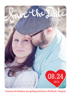 Save Date Heart 5x7 Flat Card