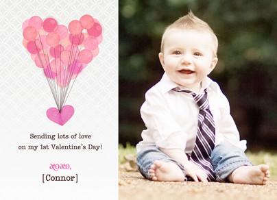Balloon Valentine Hearts 7x5 Flat Card
