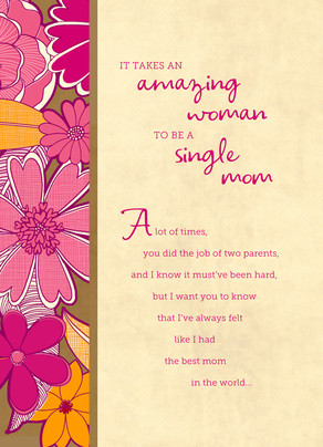 Amazing Single Mom 5x7 Folded Card