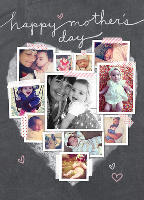 Photo Collage Heart Mother's Day Card 5x7 Folded Card