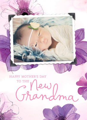 New Grandma Floral 5x7 Folded Card