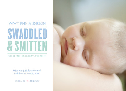 Photo Birth Announcement with Blue Lettering 7x5 Flat Card