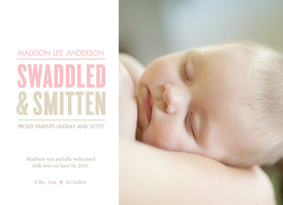 Photo Birth Announcement with Pink Lettering 7x5 Flat Card