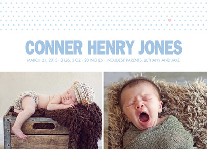Dots and Heart Photo Birth Announcement Boy 7x5 Flat Card