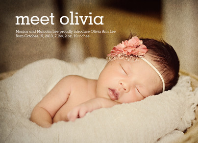 Typed Print Photo Birth Announcement Girl 7x5 Flat Card