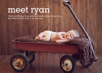 Typed Print Photo Birth Announcement Boy 7x5 Flat Card