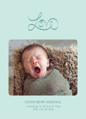 Script Love Photo Birth Announcement Blue 5x7 Flat Card