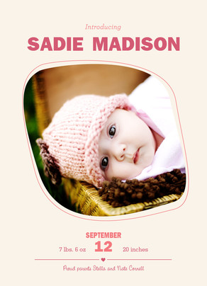 Modern Lettering Photo Birth Announcement 5x7 Flat Card
