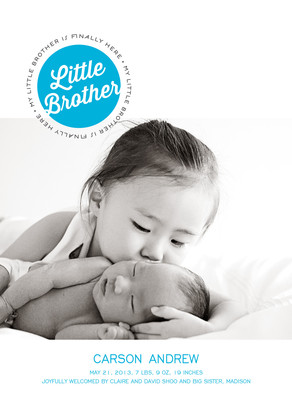 Little Brother Photo Birth Announcement 5x7 Flat Card