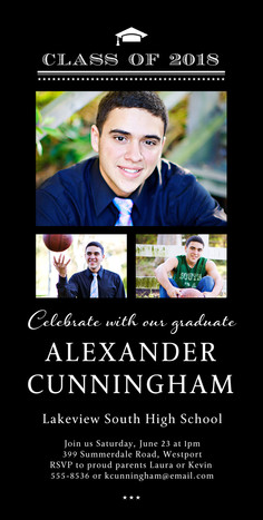 Formal Grad Invitation Vertical 4x8 Flat Card