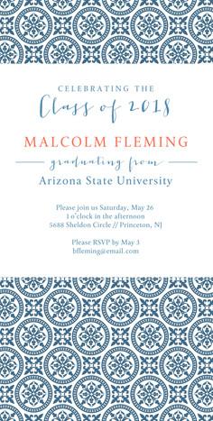 Classic Pattern Grad Invitation Blue 4x8 Flat Card