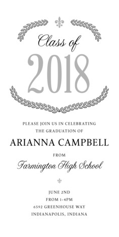 Laurel Design Grad Invitation 4x8 Flat Card