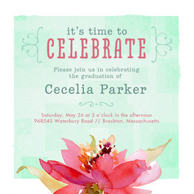 Watercolor Floral Grad Invitation 4.75x4.75 Flat