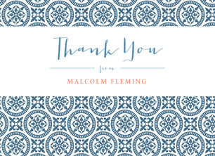 Classic Pattern Grad Thank You Blue 5.25x3.75 Folded Card