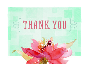 Watercolor Floral Grad Thank You 5.25x3.75 Folded Card